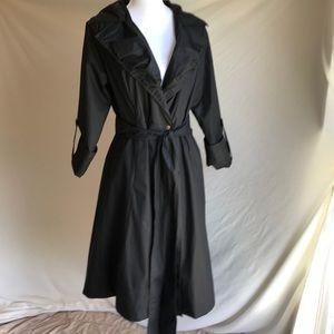 Donna Karen 💕 Ruffle Black Trench Coat size 6